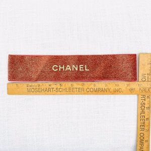 designer Chanel Paris red embossed glitter Ribbon